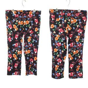 Floral Capri Pants Crop Large Pull On Stretch